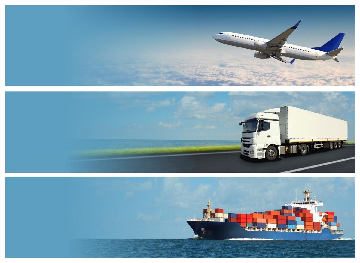airplane, truck and ship freight and shipping